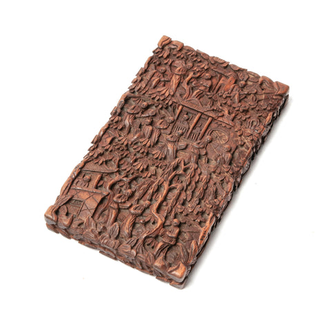Antique Chinese Cantonese Region Carved Hardwood Card Case - People in Garden (Code 1115)