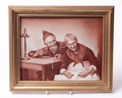 Antique Limoges Hand Painted Porcelain Plaque of Old Couple by Edmond Lajouanie (Code 1116)