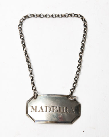 Antique Georgian Silver Decanter Label - Madeira - London 1825 by George Knight (Code 1133)