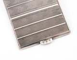 Art Deco Solid Silver Engine Turned & Enamel Cigarette Case - Polish/Poland (Code 1196)