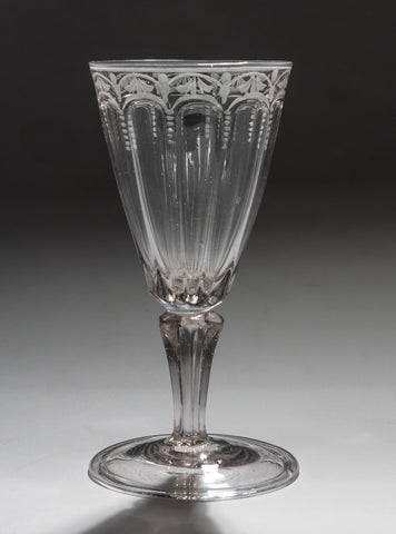 Antique Georgian Period Bohemian Silesian Engraved Glass Wine Goblet c1780 (Code 1247)