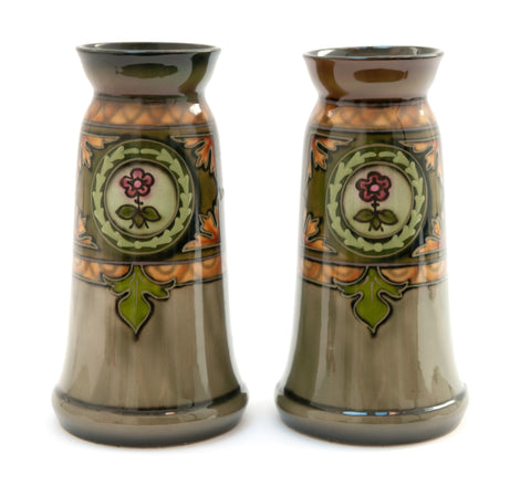 Pair Royal Bonn Secessionist Art Pottery Antique Vases in Green with Tubelining (Code 1319)