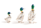 Set of Three Saturno Silver & Enamel Mallard Ducks with Certificates (Code 1335)
