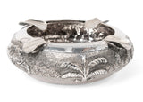 Vintage Burmese/Thai Sterling Silver Repousse Ashtray with Tropical Elephant (Code 1384)