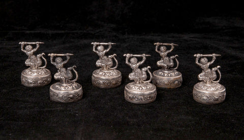 Six Vintage French Colonial Cambodian Khmer Warrior 800 Silver Menu Card Holders (Code 1430)