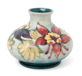 Vintage Moorcroft Art Pottery Columbine Pattern Vase with Sea Green Ground (Code 1432)