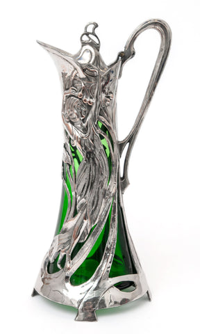 Antique Warszawa WMF Silver Plated Art Nouveau Large Green Glass Claret Jug (Code 1444)