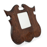 Antique Oak Wood Framed Art Nouveau Shield or Angle Wing Hall Mirror c1905 (Code 1477)