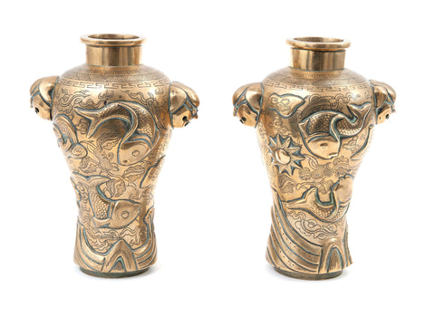 Pair Vintage Chinese Cast Brass Mask Head Vases with Fish & Sun Design (Code 1494)