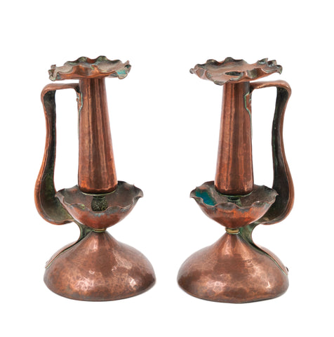 Pair Antique Arts & Crafts Copper Hand Made / Beaten Candlesticks with Handles (Code 1507)