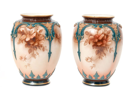 Pair of Antique Hadley Worcester China Hand Painted Monochrome Vases c1900 (Code 1530)