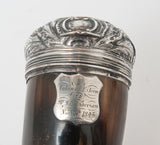 Antique Scottish Rams Horn Snuff Mull Box with Silver Lid & Queen Anne Shilling (Code 1534)