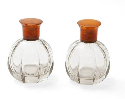 Pair of Antique Art Deco Heavy Cut Glass & Brass Mounted Scent Perfume Bottles (code 1554)