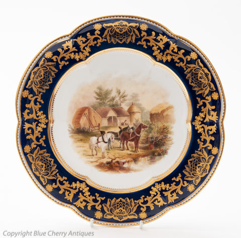 Antique Coalport China Bucolic Hand Painted Cabinet Plate - Rural Horses Scenic (Code 1567)