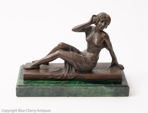Art Deco Design Patinated Bronze Figure of Reclining Female on Green Marble Base (Code 1578)