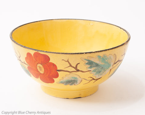 Antique Staffordshire Canary Yellow Pottery Earthenware Painted Bowl c1820 (Code 1587)