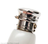 Antique Victorian Solid Silver & White Opal Glass Snuff Bottle London 1852 (Code 1610)