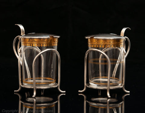 Fine & Rare Pair of Hukin & Heath Silver & Gilt Glass Hot Toddy Cups London 1907 (Code 1637)