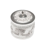 Vintage Indian Silver Plate Small Lidded Round Repousse Box with Pastoral Scenes (Code 1643)