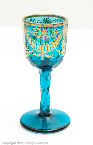 Antique Bohemian Kingfisher Blue & Gilded Facet Cut Wine Glass Georgian c1820 (Code 1653)