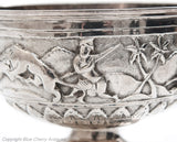 Antique Indian Raj Period Lucknow Silver Repousse Hunting Scenes Pedestal Bowl (Code 1665)