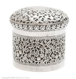 Antique Indian Kutch Silver Repousse Lidded Jar Floral & Foliate c1880 (Code 1691)