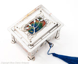 Antique Arts & Crafts Silver Plated & Enamel Nouveau Design Jewellery Box (Code 1756)