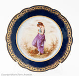 Antique Mansard Paris Porcelain Cabinet Plate by Young Maiden by M Picard (Code 1761)