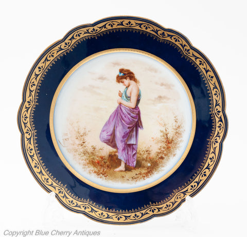 Antique Paris Porcelain Cabinet Plate of Young Maiden by M Picard for Mansard (Code 1761)