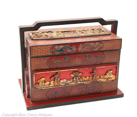 Antique Chinese Wood & Carved Cinnabar Lacquer Panel Wedding Box (Code 1770)