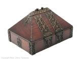Antique Indian Mahogany Wood & Brass Kerala Nettur Petti Jewellery or Dowry Box (Code 1778)