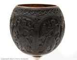 Antique South East Asian Carved Coconut Cup On Silver Pedestal Base c1800 (Code 1780)