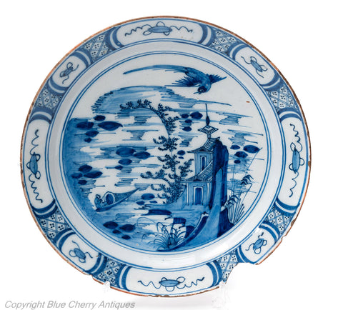 Antique Dutch Delft Pottery Faience Glaze Large Arita Design Blue & White Plate (Code 1799B)