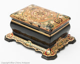 Black Lacquer & Papier Mache Victorian Antique Two Division Tea Caddy c1870 (Code 1806)