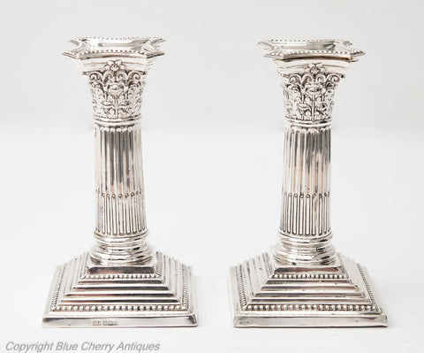 Pair Antique Edwardian Sterling Silver Corinthian Column Candlesticks Sheffield 1908 (Code 1815)