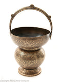 Antique Deccani Indian Islamic Benares Brass Chased Naskh Script Alms Bowl (Code 1823)