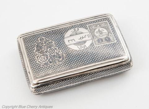 Antique Turkish Armenian Silver Niello Sweetheart Tobacco Case with Tughra Mark (Code 1836)