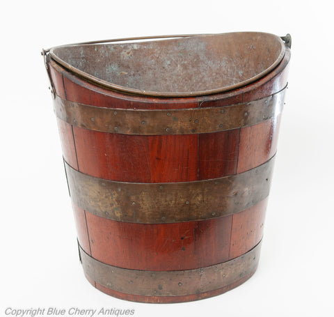 Antique Georgian Mahogany Wood Staved & Brass Peat Bucket with Liner (Code 1847)
