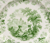 19th Century Rockingham Brameld Green Transfer Printed Don Quixote Pattern Plate (Code 1868)