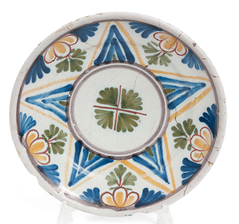 Antique 17th Century Delft Tin Glazed Polychrome Shallow Dish - Northern France (Code 1898)