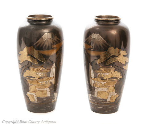 Pair Antique Meiji Japanese Bronze & Mixed Metal Damascene Vases with Mount Fuji (Code 1908)