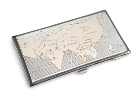 Antique Indian Silver & Ruby Military Interest Cartographical Cigarette Case (Code 1909)