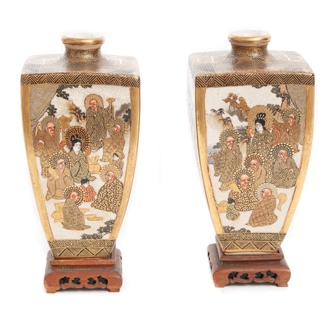 Pair Fine Antique Signed Hododa Japanese Satsuma Ware Vases with Deities (Code 1912)