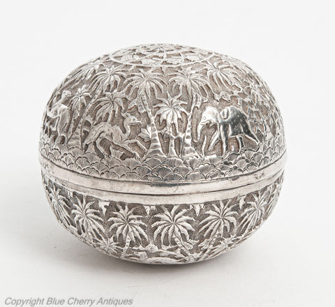 Antique Indian Lucknow Silver Round Box with Elephants & Animal Decoration (Code 1915)