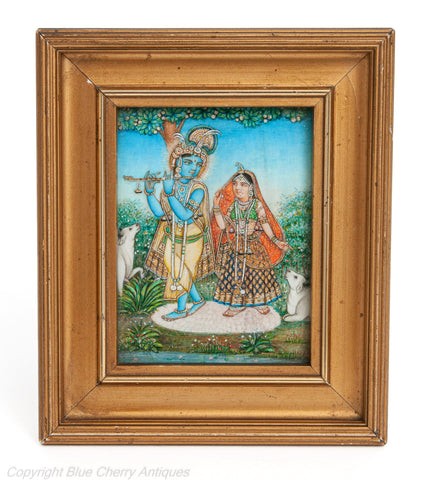 Antique Indian Framed Watercolour Miniature Portrait Painting of Radha Krishna (Code 1917)