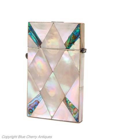 Antique Victorian Period Mother of Pearl and Abalone Shell Calling Card Case (Code 1921)