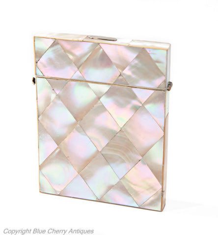 Antique Victorian Diamond Panel Iridescent Mother of Pearl Calling Card Case (Code 1925)