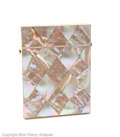 Mother of Pearl Iridescent Victorian Calling Card Case - Antique c1870 (Code 1927)