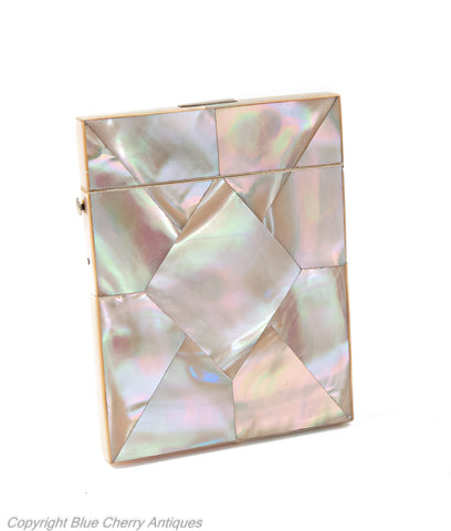 Antique Mother of Pearl Victorian Calling Card Case with Pink Iridescence (Code 1930)