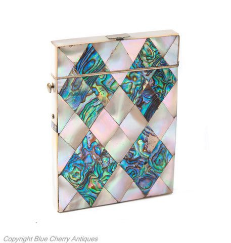 Antique Mother of Pearl & Abalone Shell Victorian Calling Card Case c1860 (Code 1932)
